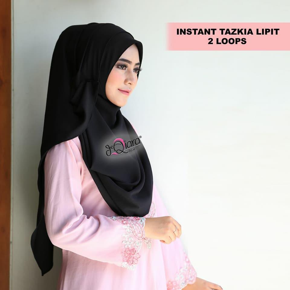 Instan Tazkia Lipit 2 Loops Jilbab Instan Best Seller By DQiara Jilbab Instan Pasmina Instant